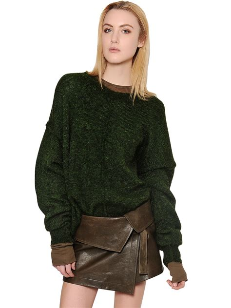 marant sweater marant oversized wool blend sweater in green lyst