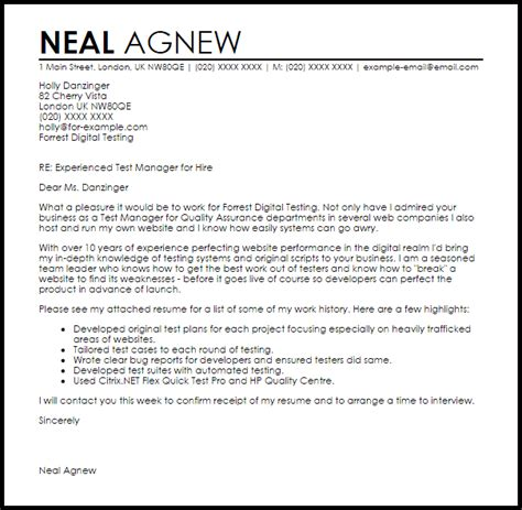 Cover Letter For Testing Resume by Test Manager Cover Letter Sle Cover Letter Templates