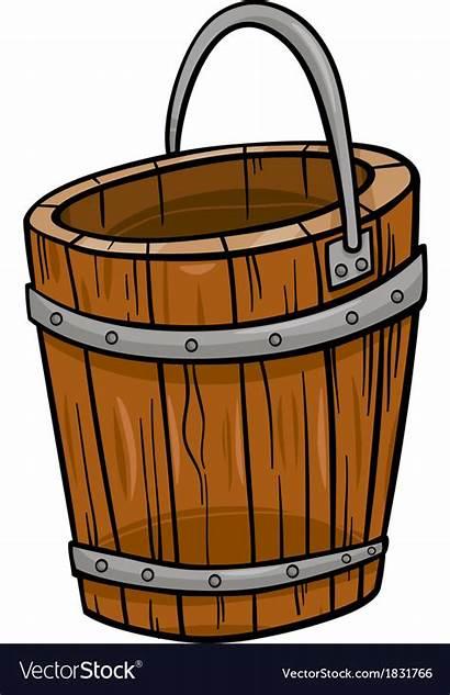 Bucket Cartoon Clip Wooden Vector Wood Retro