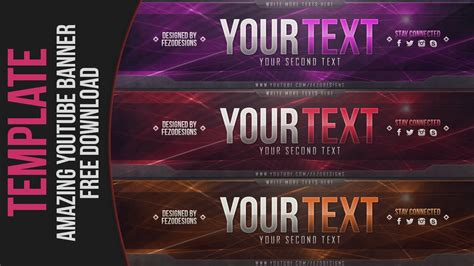amazing  youtube banner template