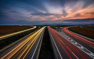 Clouds, Sky, Highway, Traffic, Road, Landscape, Long, Exposure, Wallpapers, Hd, Desktop, And, Mobile