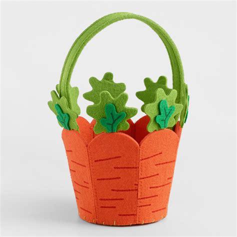 easter baskets large carrot felt easter basket world market