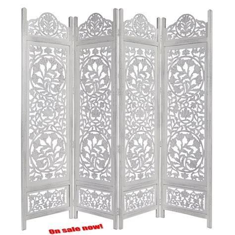 White Antique Room Divider Screen 4 Folding Panel