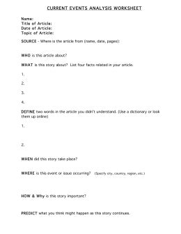 Article Analysis Worksheet Worksheets For All  Download And Share Worksheets  Free On