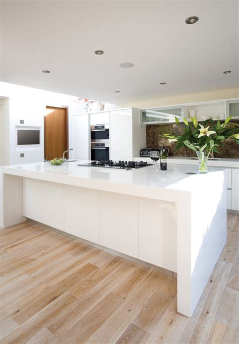 contemporary kitchen flooring glitter sparkle luxe white wash stain and pickled wood floors