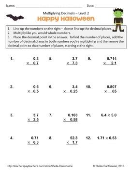 halloween math multiplying decimals worksheets differentiated tpt