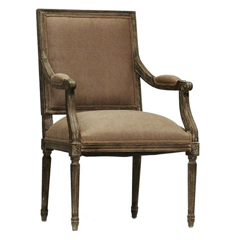 Madeleine French Country Louis Xvi Limed Copper Linen Arm