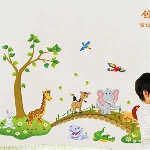 Grande Jungle Animaux Pont Vinyle Stickers Muraux Enfants Chambre Stickers Mignon Anime Bébé