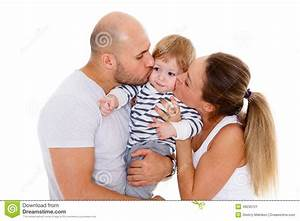 Happy family with baby.
