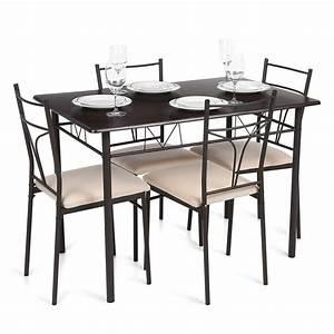 Table A Manger 4 Personne : ikayaa 5pcs moderne m tal chaises cadre salle manger ~ Teatrodelosmanantiales.com Idées de Décoration
