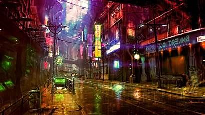 4k Neon Street Cyberpunk Digital Futuristic Wallpapers