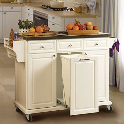 kitchen island with trash storage white kitchen cart with trash pull 279 99 use for my 8277