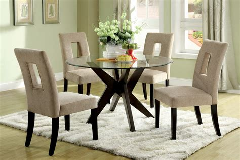 round tempered glass top dining table set for small spaces