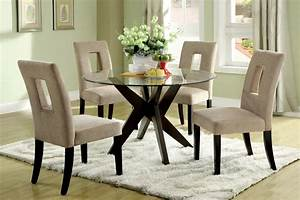 Round, Tempered, Glass, Top, Dining, Table, Set, For, Small, Spaces