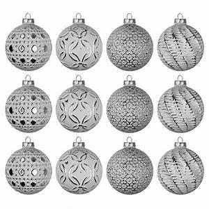 Weihnachtskugeln Weiß Silber : set weihnachtskugeln 12 st ck 8cm 4 sorten wei silber im display weihnachten rund um den ~ Sanjose-hotels-ca.com Haus und Dekorationen