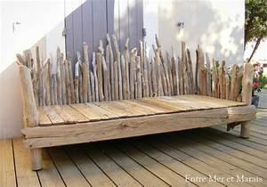 Meuble En Bois Flotté : canap s en bois flott entre mer et marais cr ations en bois flott ~ Preciouscoupons.com Idées de Décoration