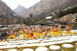 The Shaolin Monks Of Dengfeng Practice Kung Fu Despite The Snow