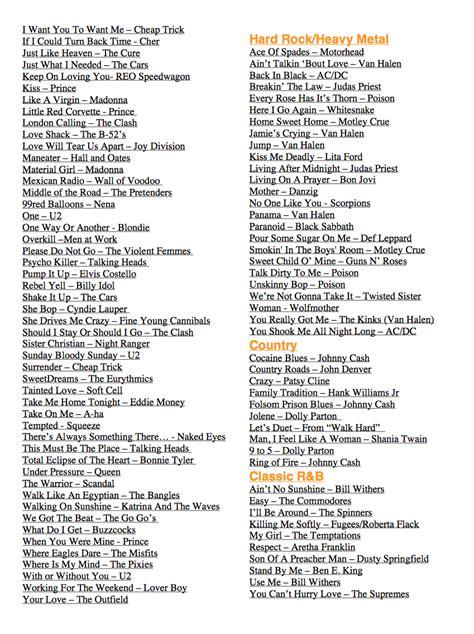 karaoke song list paul    practice   school montessori