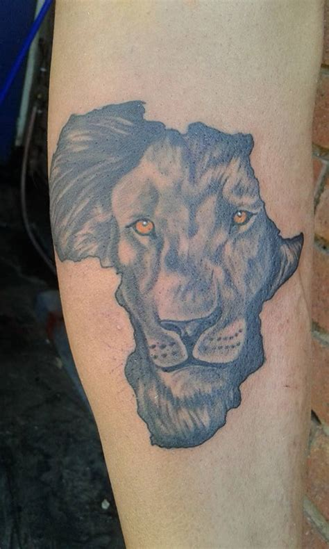 black  grey african lion  africa map tattoo design