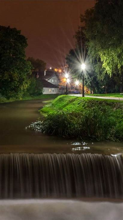 Waterfall Landscape Nighttime 4k River Nature During