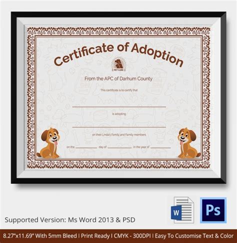 Blank Adoption Certificate Template by Adoption Certificate Template 12 Free Pdf Psd Format