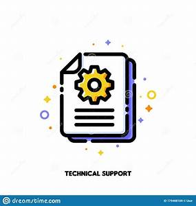 Manual Document Icon With Paper File And Gear For Big Data