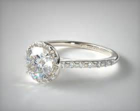 one of a engagement rings pave halo and shank engagement ring 14k white gold 17305w14