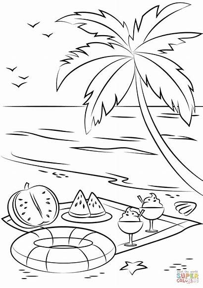 Coloring Picnic Summer Beach Pages Drawing Printable