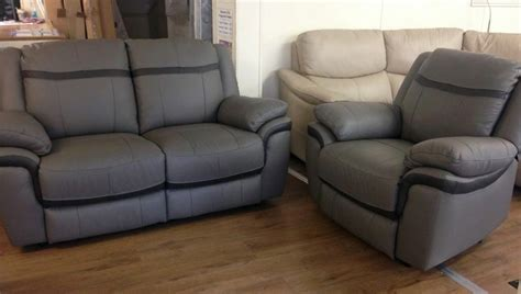 Scs Leather Settees by Scs Taurus 2 1 Grey Leather Manual Recliner Sofa Suite