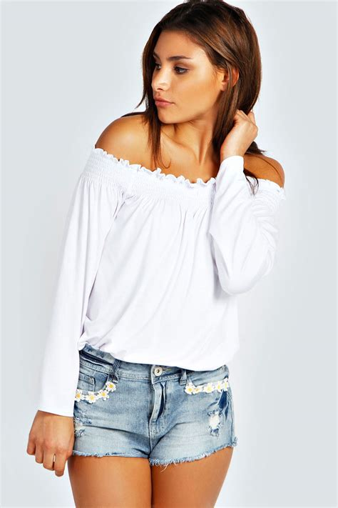 the blouse boohoo womens shirred the shoulder top