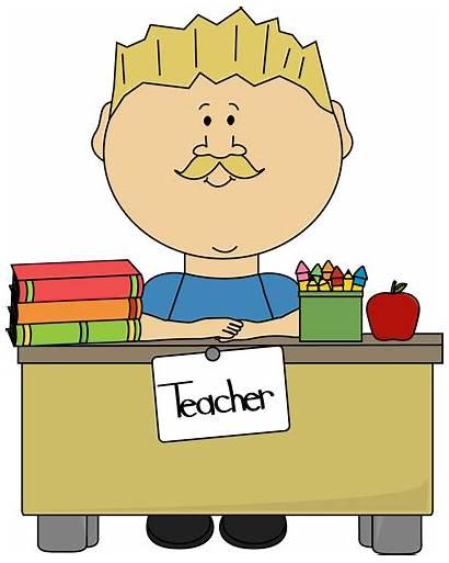 Teacher Desk Male Blond Clip Sitting Clipart