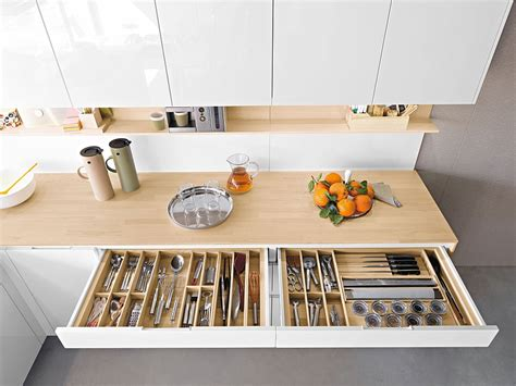 contemporary kitchen offers functional storage
