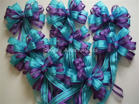 purple blue wedding pew bow turquoise purple baby shower