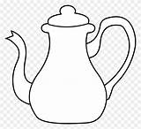 Tea Coloring Teapot Pot Kettle Clipart Sheets Clip Pages Template Silhouette Sketch sketch template
