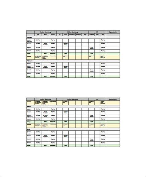 marketing schedule templates  google docs ms