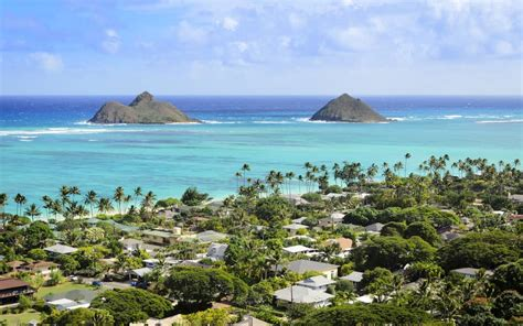 hawaii beach lanikai kailua oahu weather december states united islands mokulua island strand eiland mooi op northern