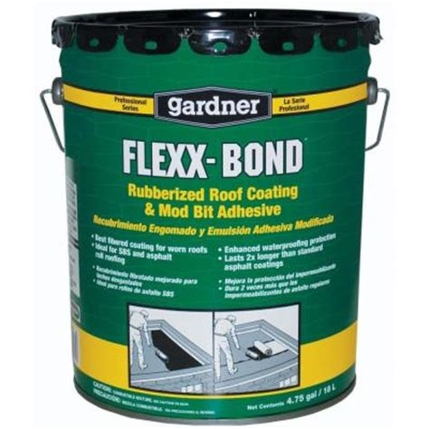 gardner 4 75 gal flexx bond rubberized roof coating and