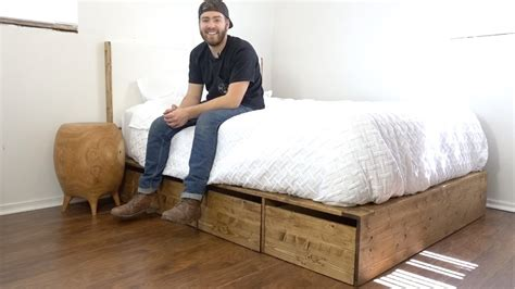 diy modern platform bed  storage modern builds ep    youtube