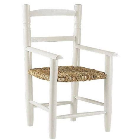 chaise cuisine avec accoudoir fauteuil enfant paille bois laquée blanc la vannerie d