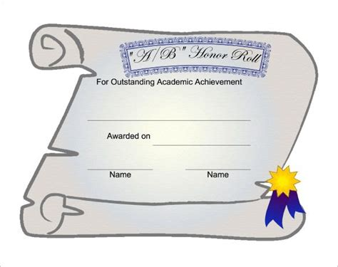 printable honor roll certificate templates  word
