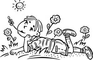 Coloriage - Garçon rêverie dans un champ