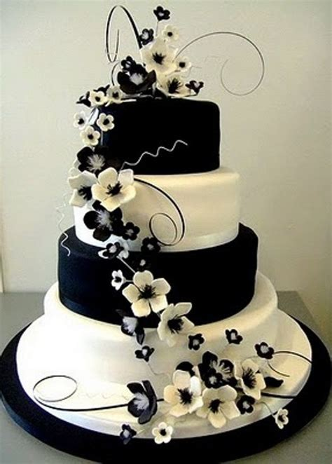 black white themed wedding inspiration wedding cakes