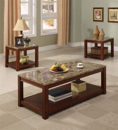 Faux marble table top features a uv coating for moisture resistance and a high gloss shine. 16797-Bologna Brown Faux Marble Top 3-Piece Coffee Table - Miami Furniture