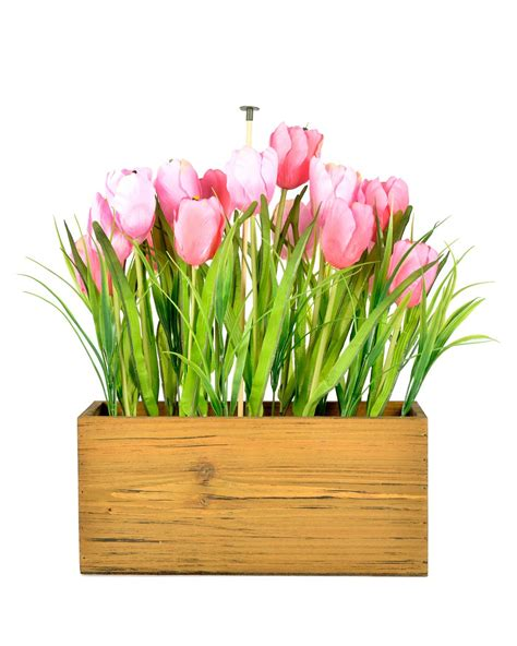 tulips in shade large pink shade tulip arrangement in wooden planter box