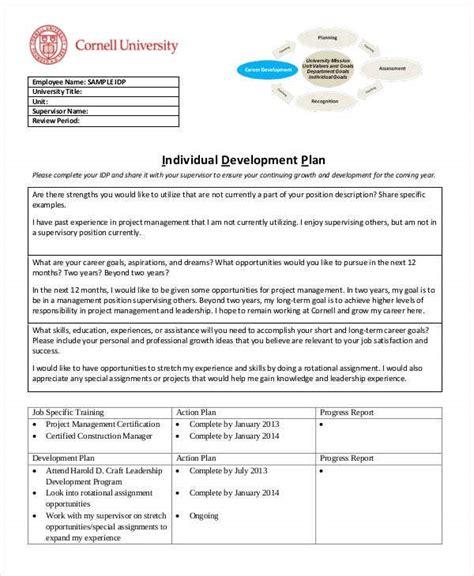 individual development plan templates  sample