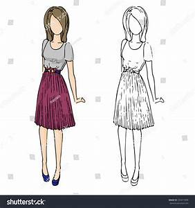 Fashion Sketch Drawing Girls Beautiful Looks Stock Vector 233417899 - Shutterstock