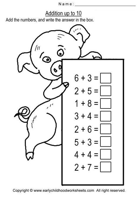 addition up to 10 worksheets numeri pinterest math