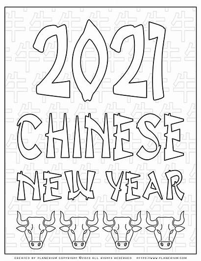 Chinese 2021 Coloring Poster Ox Pages Planerium