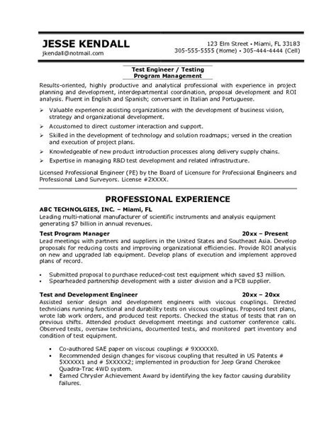 exle test engineer resume sle