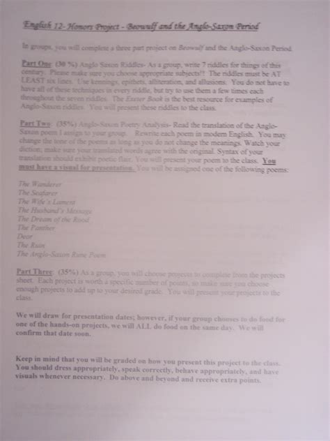 Beowulf Resume Assignment by Anglo Saxon Beowulf Project Professional Portfolio